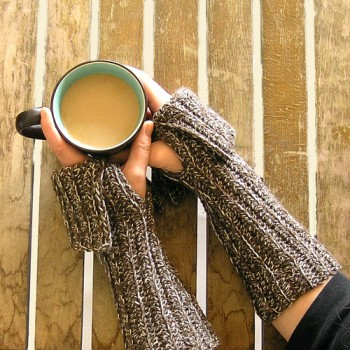 Heathered Brown Wool Fingerless Gloves with cuff