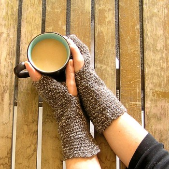 Brown Heathered Fingerless Gloves