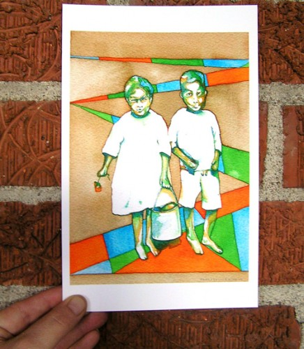 Jack and Jill Mississippi Children watercolor print