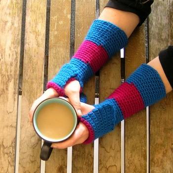 Striped Fingerless Crochet Gloves