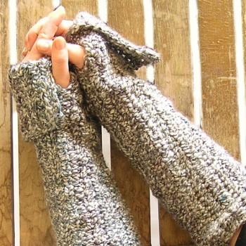 Thick Crochet Long Fingerless Gloves