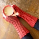 Burnt Red Fingerless Gloves