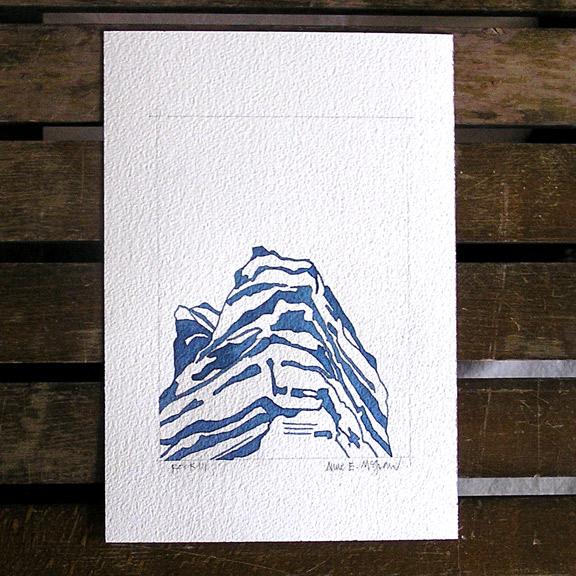 Rocky Mountain shadow watercolor in Indigo