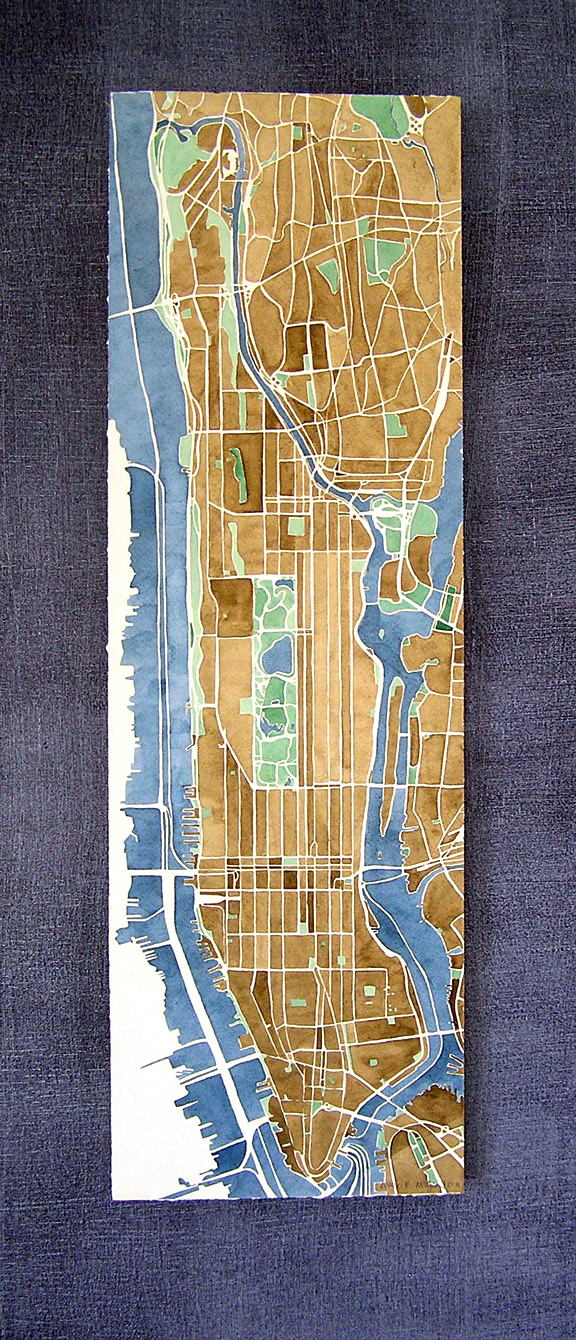 Manhattan New York Watercolor Map