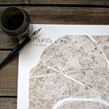 Paris in sepia watercolor
