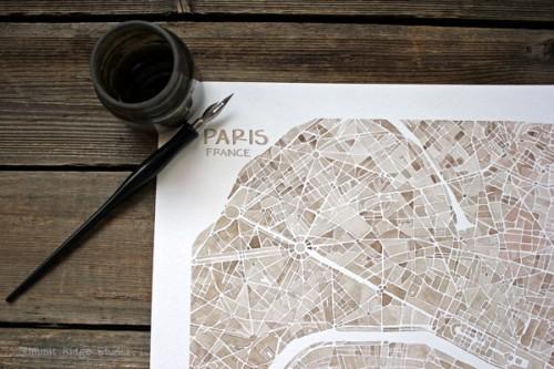 Paris in sepia watercolor