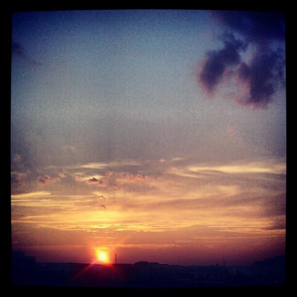 Pink sun setting