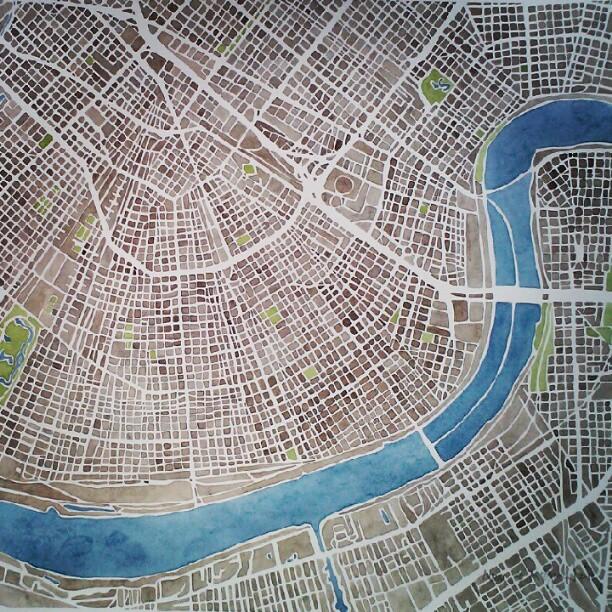 New Orleans #nola #summitridge  #watercolor  #map #denverart
