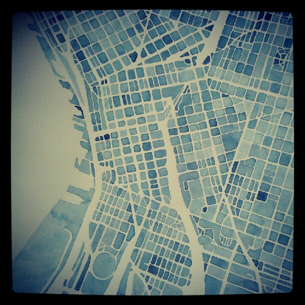 Seattle blueprint watercolor #map #denverart #summitridge  #watercolor  #seattle