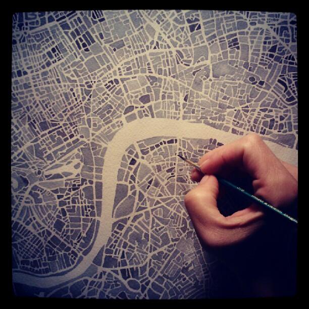 Touching up #london #watercolor  #map  #summitridge  #denverart #blackandwhite #paynesgray