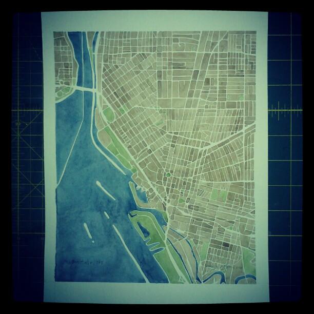 Buffalo #ny #watercolor  #map #summitridge #art