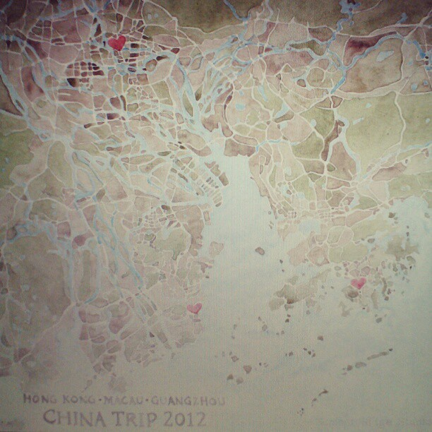 China watercolor map #china #map #hongkong #summitridge #watercolor #denverart