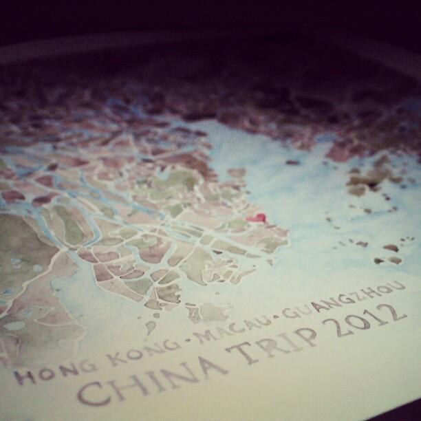 China trip watercolor map #custom #watercolor  #map #summitridge