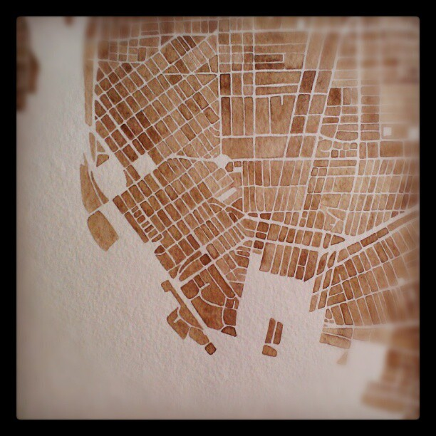 Sepia map #sepia #watercolor  #map #summitridge  #denverart  #buffalo  #newyork