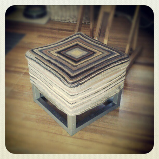 New crochet square stool cover #art #denver #summitridge