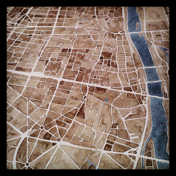 Warsaw Poland #watercolor #map #summitridge #etsy