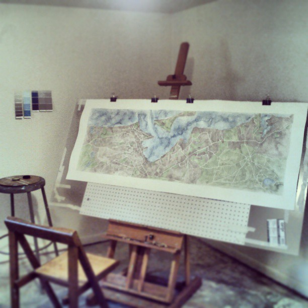 Finishing touches #nantucket #map #watercolor #summitridge #art #painting #blue #paper