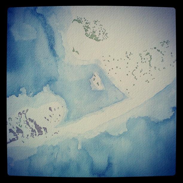 Florida #keys #map #watercolor #summitridge #indigo #sepia #green #water #abstract #art #painting