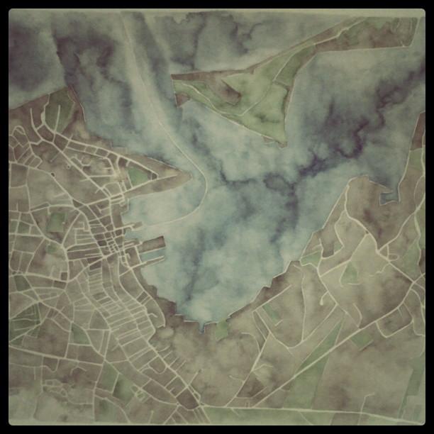 Watercolor map detail #art #summitridge #painting #watercolor #map #nantucket