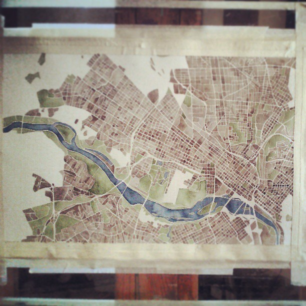 Beautiful city #richmond #Virginia #rva #river #city #watercolor #map #summitridge