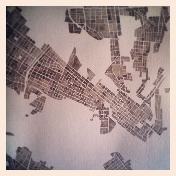 Bit more done #richmond #va #map #watercolor #summitridge