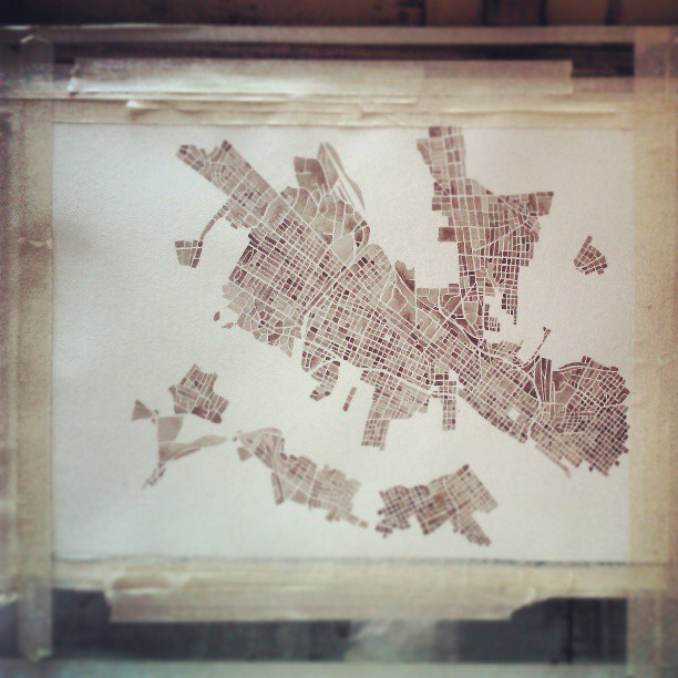 Cobblestone city #rva #richmond #va #sepia #gray #bark #coffee #watercolor #map #art #summitridge