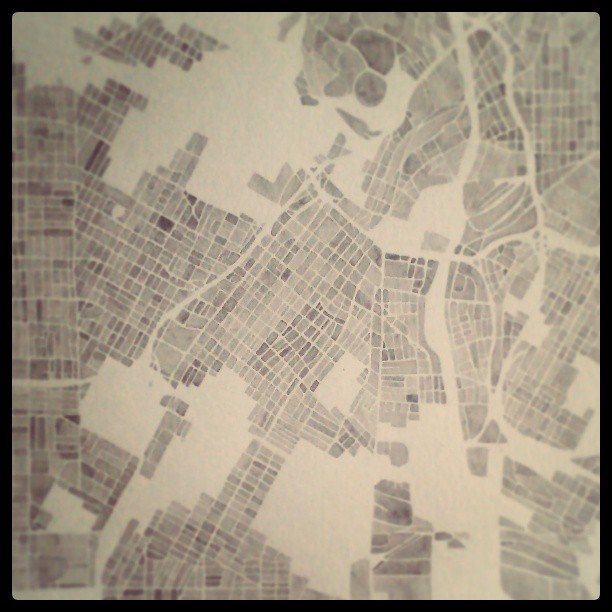 Charcoal city #concretejungle #la #cali #watercolor #summitridge #map #art #painting