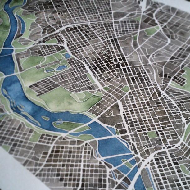 #rva Prints available at SummitRidge #etsy #richmond #va #summitridge #watercolor #city #map