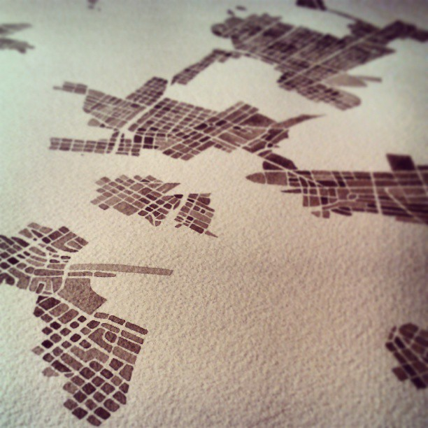 City #watercolor #city #map #denver #rva