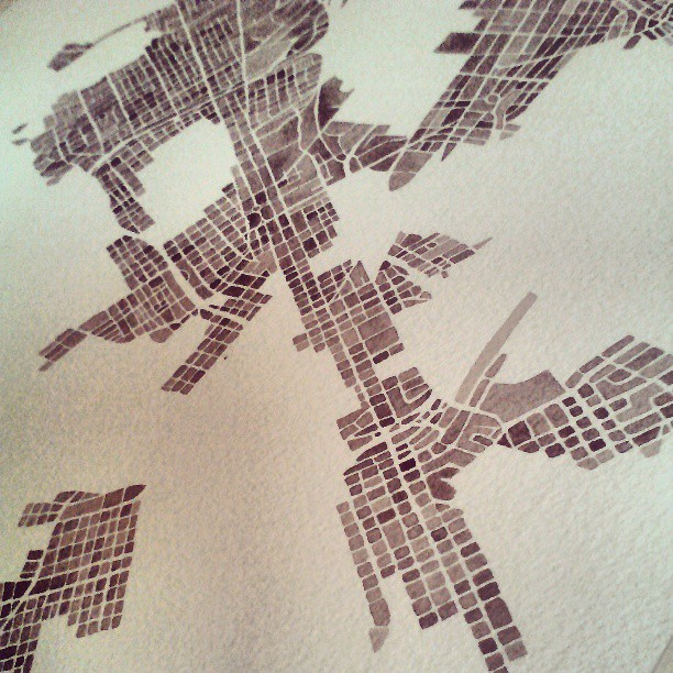 Perspective #rva #watercolor #painting #summitridge #sepia #map #cobblestone #coffee #bark