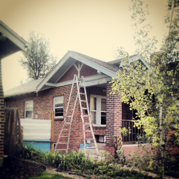 My Sunday project #painting #rafters #spring #denver
