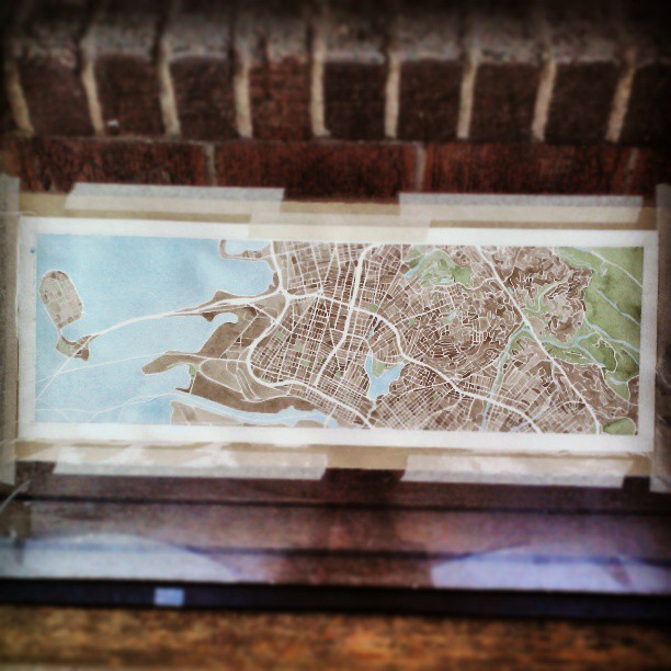 Oakland 7x22 #panoramic #watercolor #map #city #art #summitridge