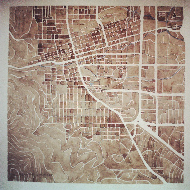 Boulder Colorado #sepia #prints #watercolor #map #summitridge #etsy