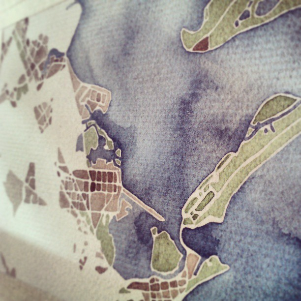 Morning light #city #galveston #texas #map #summitridge #watercolor #commission
