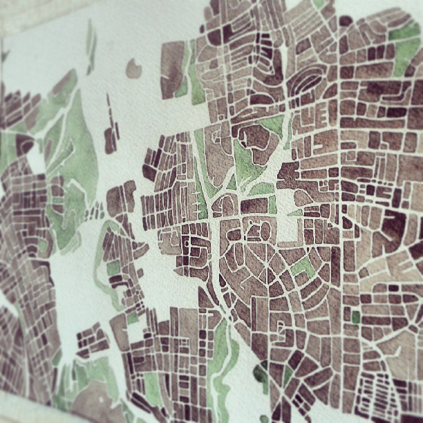 Baltimore neighborhood #map #watercolor #summitridge #parks #green #sepia #neighborhood