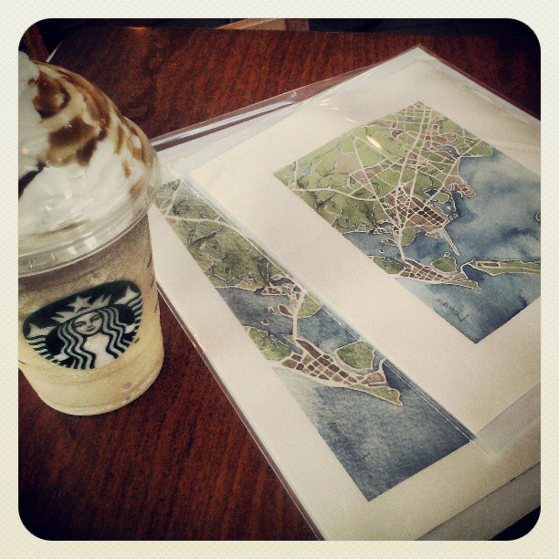 Frappuccino and art #galveston #maps #watercolor #delivery #summitridge