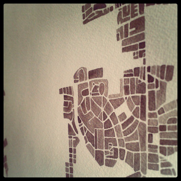 Neighborhood #baltimore #map #sepia #coffee #summitridge #etsy #painting