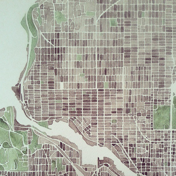 Just add water #seattle #neighborhood #urban #map #watercolor #summitridge