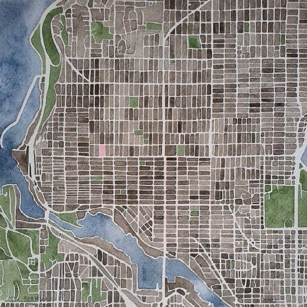 NW Seattle #seattle #map #watercolor #art #handpainted #painting #parks #water #urban #streets #summitridge #jwdenverart
