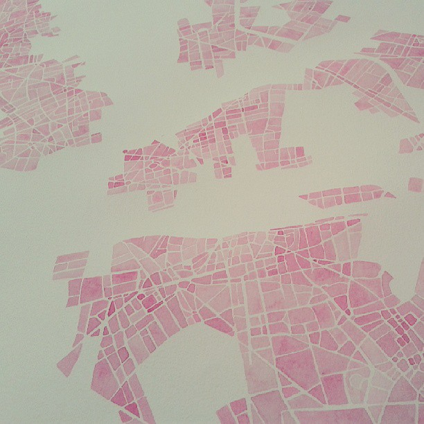 Pink #romance #map #watercolor #paris #streets  #summitridge