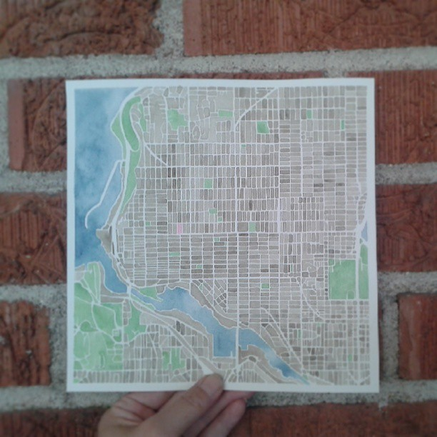NW Seattle #watercolor #map #custom #summitridge #city #streets #urban