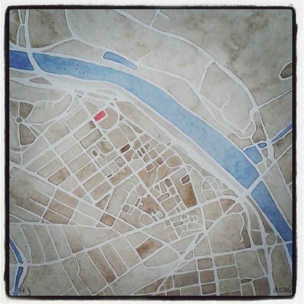 New Brunswick #nj #rutgers #university #map #watercolor #summitridge