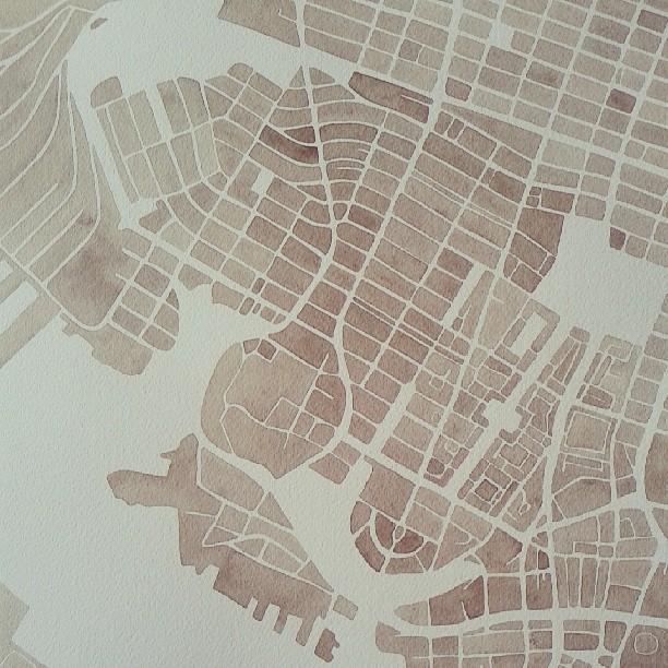 Norfolk #neighborhood #parks #water #watercolor #map #summitridge #commission #art #painting #sepia
