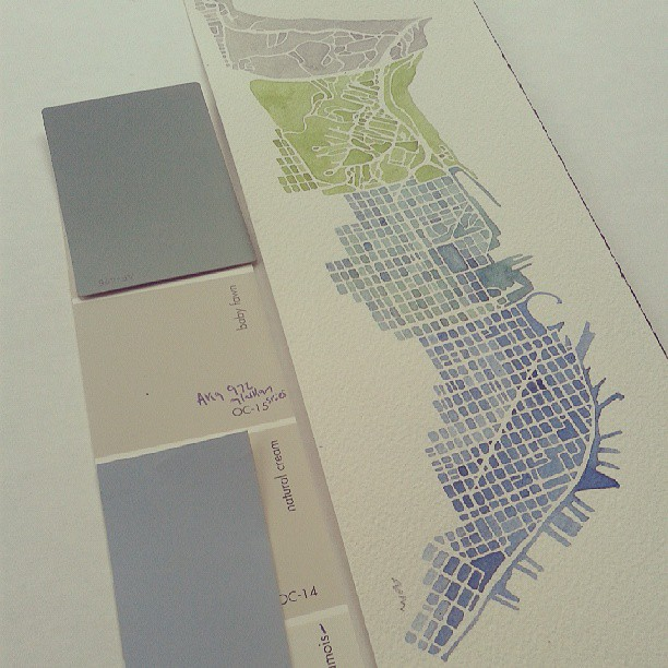 Colors #testing #sanfrancisco #map #watercolor