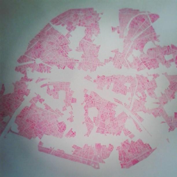 Paris in progress #watercolor #etsy #summitridge #instaart #pink #paris #handpainted #map #forsale