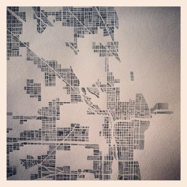 Chicago in progress #watercolor #map #summitridge