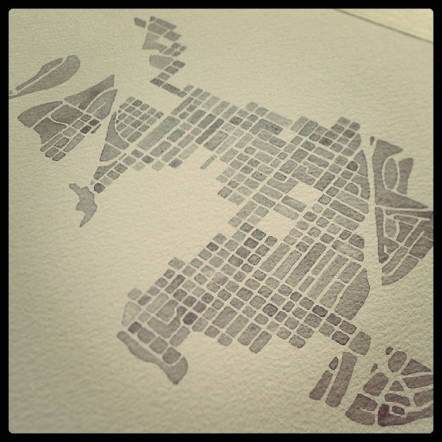 Coeur d'Alene #idaho #watercolor #map #charcoalgray #inprogress
