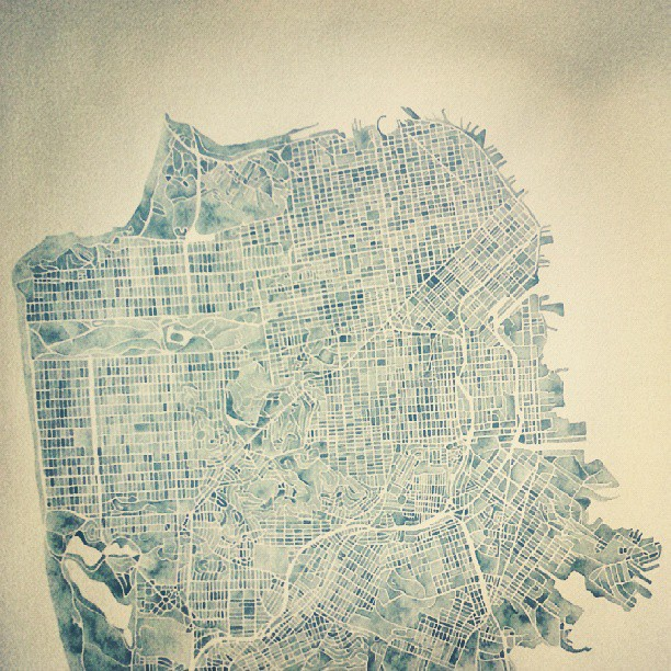 San Francisco finished #map #watercolor #summitridge
