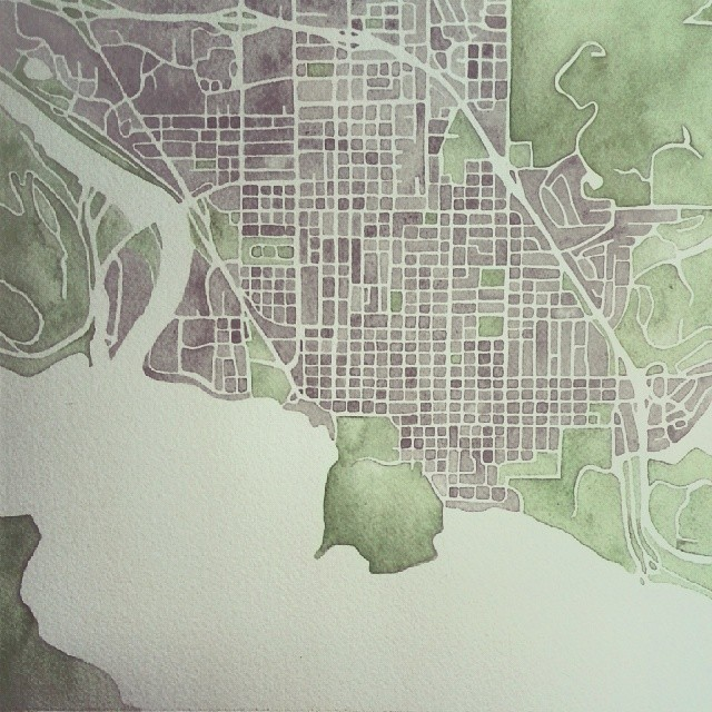 Water #coeurdalene #idaho #watercolor #map #summitridge #art #painting #commission