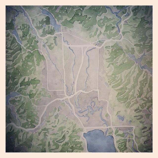 Montana #map #watercolor #mountains #lake #park #summitridge